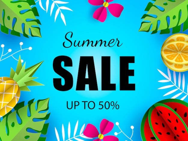Summer sale vector template banner template