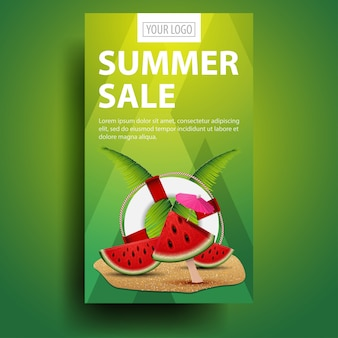 Summer sale, vertical, creative, stylish discount web banner with modern design