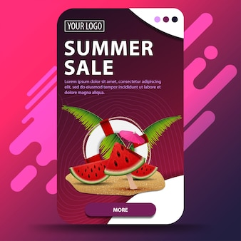 Summer sale, vertical template for discount banner
