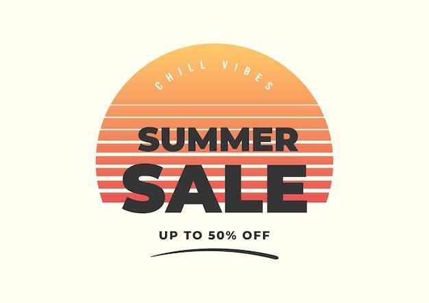 Summer sale vintage minimal banner template.