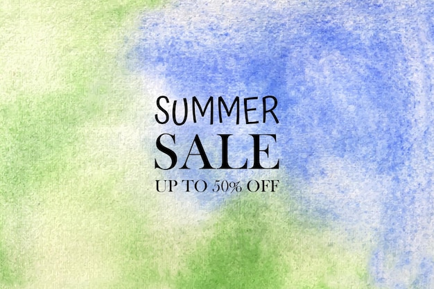 Summer sale watercolor pastel background hand painted. aquarelle colorful stains on paper.