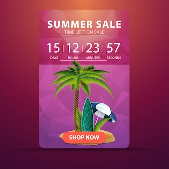 Summer sale, web banner template with countdown to the end of the sale