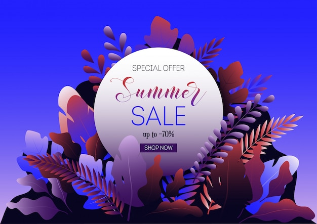Summer sale web banner template with forest leaves, round frame and promo text