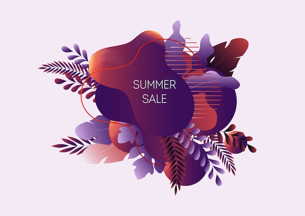 Summer sale web banner with abstract liquid shapes, tropical leaves and text isolated