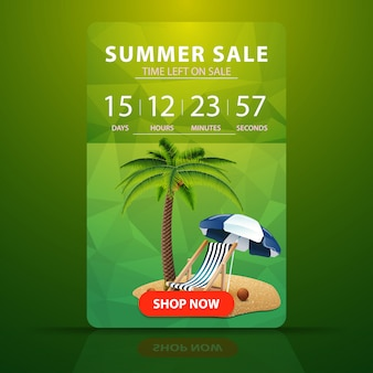 Summer sale, web banner with countdown to the end of the sale