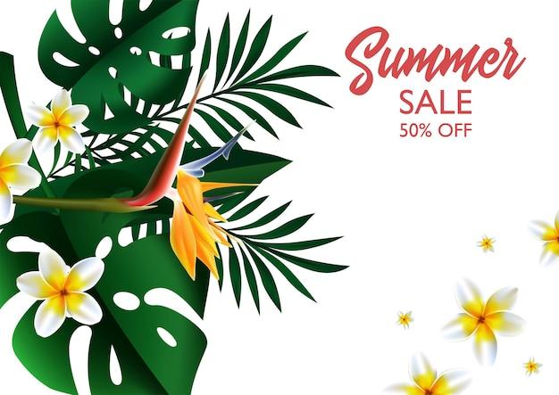 サマーセールホワイトトロピカルデザインテンプレートバナー。モンステラとヤシの葉を持つエキゾチックな緑の花