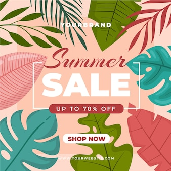 Summer sale with assortment of leaves