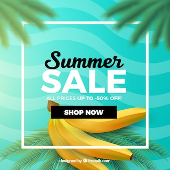 Summer sale with bananas realistic style