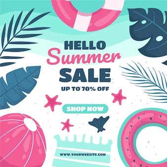 Summer sale with beach ball and leaves