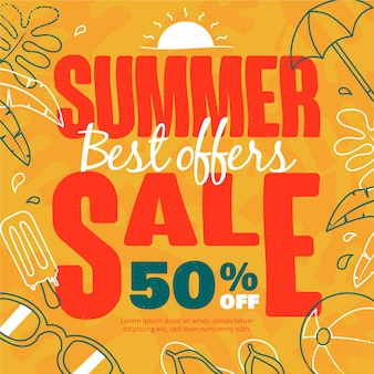Summer sale with beach essentials