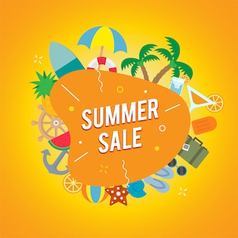 Summer sale with beach object vector