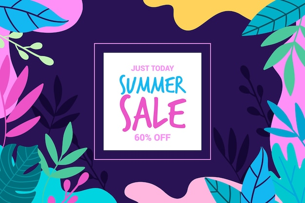 Summer sale with colorful leaves
