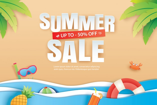 Summer sale with decoration origami on beach background.
