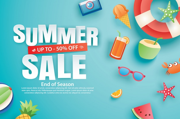 Summer sale with decoration origami on blue sky background