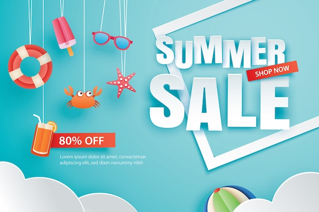 Summer sale with decoration origami on blue sky background.