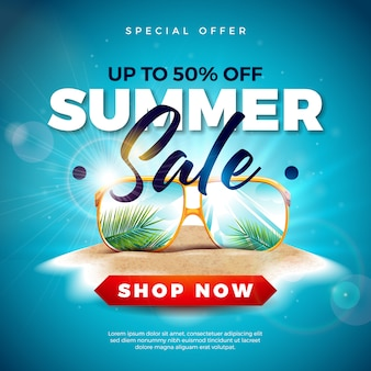Summer sale with exotic palm leaves in sunglasses on tropical island