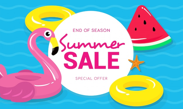 Summer sale with flamingo vector illustration