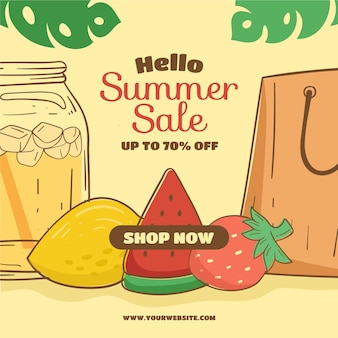 Summer sale with fruits and leaves