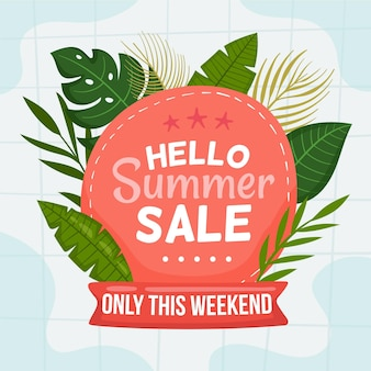 Summer sale with hand drawn leaves