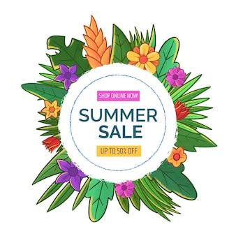 Летняя распродажа с листьями и цветами