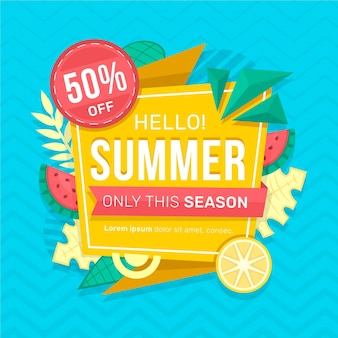 Summer sale with leaves and citrus