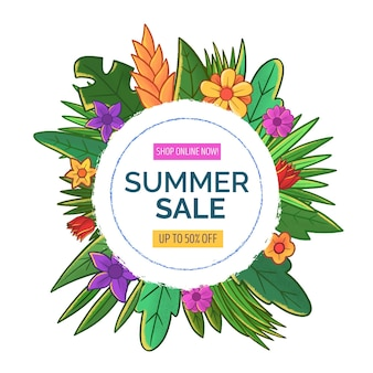 Summer sale with leaves and flowers