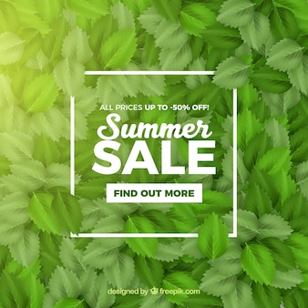 Summer sale with leaves realistic style