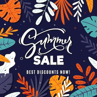 Summer sale with leaves