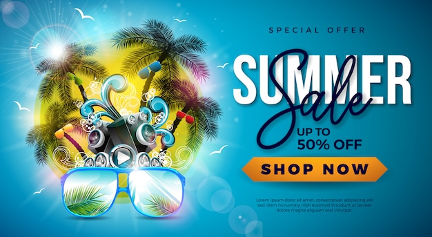 Summer sale with palm trees and sunglasses