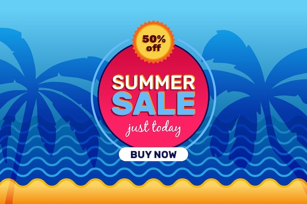 Summer sale with palm trees