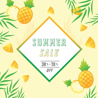 Summer sale with pine apple vector illustration