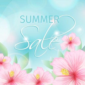 Summer sale with pink hibiscus illustration