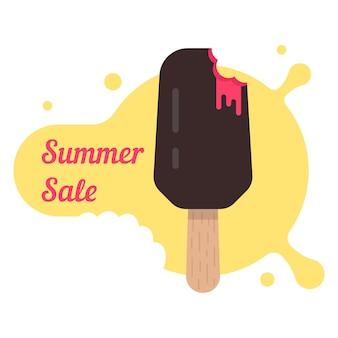 아이스 캔디와 함께 여름 세일입니다. 크림 아이스 롤리, 젤라토, 여름 단맛, 해변 과일 디저트, 할인의 개념. 흰색 배경에 고립. 플랫 스타일 트렌드 현대 로고 디자인 벡터 일러스트 레이션