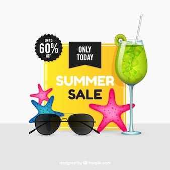 Summer sale with realistic style