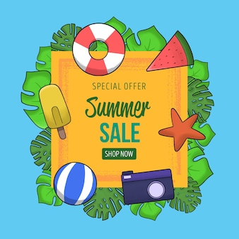 Summer sale with starfish and beach ball