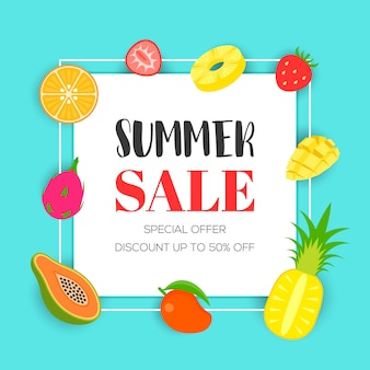 Summer sale with tropical fruit