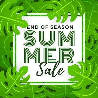 Summer sale with tropical leaf background