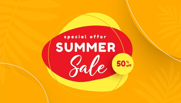 Летняя распродажа с рекламным баннером с тропическими листьями