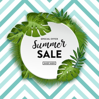 Summer sale with tropical leaves