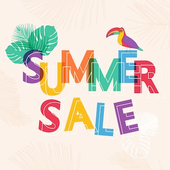 Summer sale with tropical leaves.