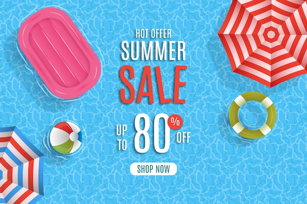 Summer sale with umbrella and pool background