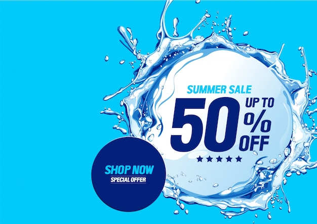 Summer sale with water waves circle