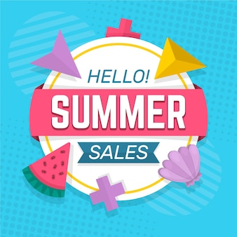 Summer sale with watermelon and sea shell