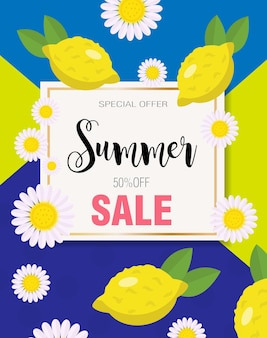 Летняя распродажа с желтыми лимонами. шаблон продвижения специального предложения