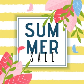 Summer sales advertising poster. foliage design and flying butterflies