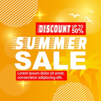 Summer sales banner discount up to 50 percent and