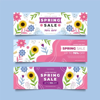Summer sales banner templates blooming flowers