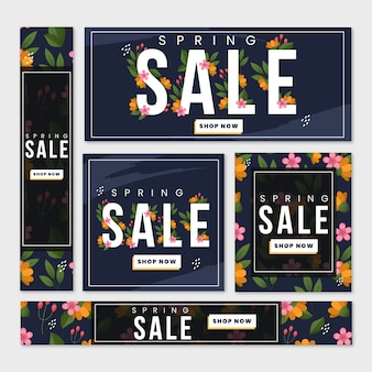 Summer sales banner templates with flowers