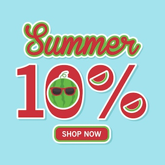Summer sales banner with cute watermelon. 10% discount, shop now