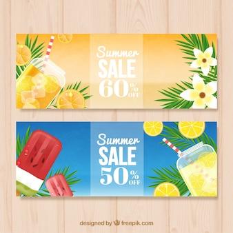 Striscioni vendite estive con bevande e gelati